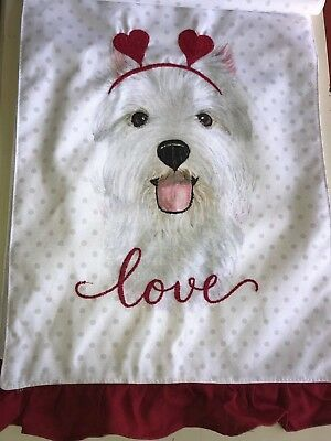 "Westie Dog VALENTINE Hearts LOVE Table Runner  13"" X 72"" NEW NWT"