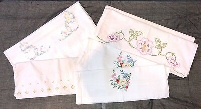 7 X Vintage Hand & Machine Embroidered Cotton Pillow Cases