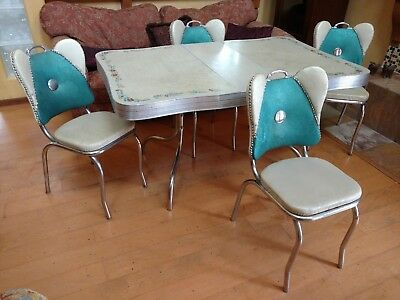 Retro_Table_Vintage_4_Chairs_Kitchen_Set_Chrome_Mid-Century_Dining_1950s_Dinette