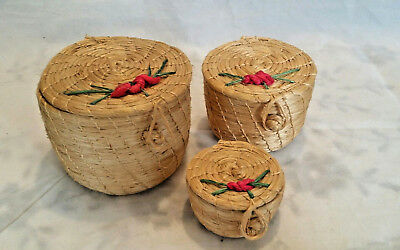 3 Piece Collectible Vintage Small Woven Nesting Baskets w/lids