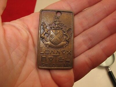 Antique Hotel Key Tag Fob Lennox Hotel St Louis Mo Missouri Brass Ornate Vtg