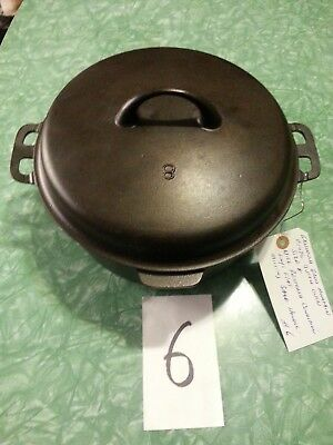Vintage Griswold Made Iron Mountain Brand Cast Iron Size 8 Dutch Oven P/N 1036#2