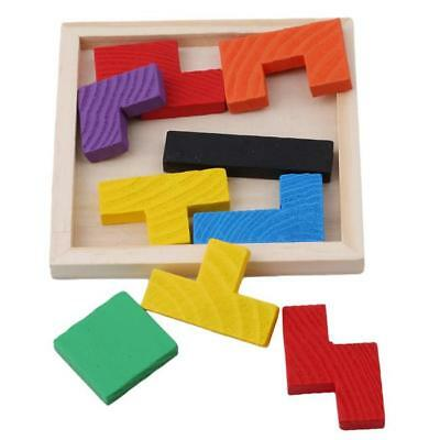 Creative Wooden Tangram Brain Teaser Puzzle Toys Tetris Game Educational Toy Y2