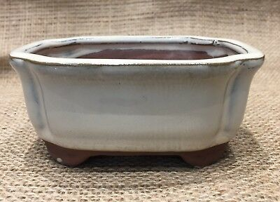 12cm White Glazed Rectangular Bonsai Pot