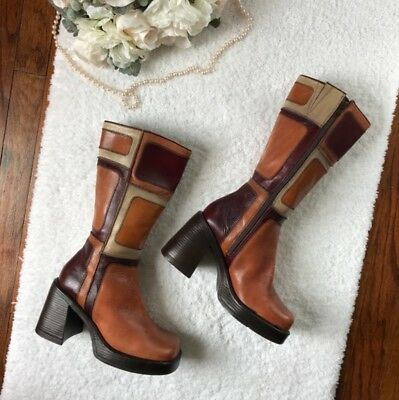 01b4b2b0b29 VINTAGE 90'S STEVE Madden Patchwork Leather Chunky Heel Boots Size 8.5