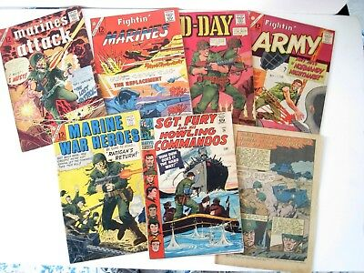 Lot of 7 Comics, D-Day,Fightin Army.Sgt. Fury,Marines Attack,Fightin Marines, ++