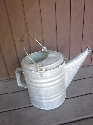 "Vintage/antique Galvanized Watering Can ""10"" / Wire Bail Handle / Dowel Grip"