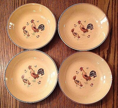 Four Vintage Rooster Harmony House Cereal Soup Bowls Honey Hen
