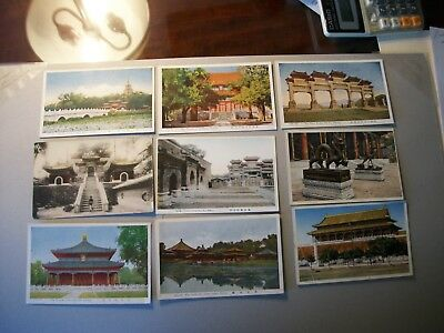 China postcards 9 different views Peking, Summer Palace, Coal Hill, Ming Tombs.