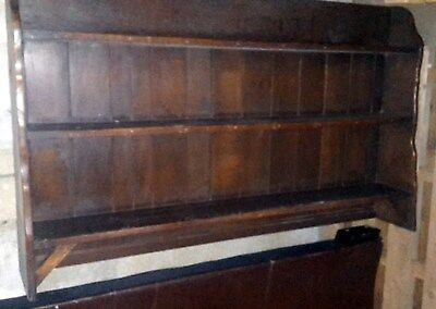 Vintage Chabby-Chic Renovation Oak / Walnut Wall Bookcase Shelves Over-Mantle