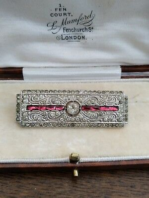 A beautiful Art deco clear & Ruby red paste Brooch vintage jewellery
