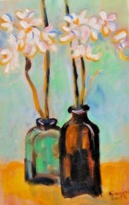 """Bottles & Blossoms"" by Kinnison Smith -Original Art Signed Oil Panting"