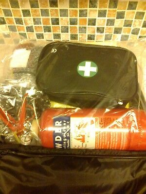 Car Accident Emergency 1ST AID kit Fire Extinguisher TORCH HI VIS JACKET GLOVES