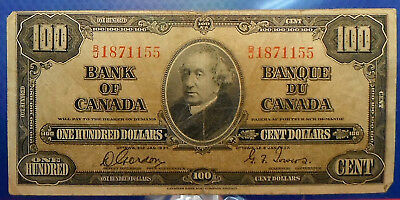 CANADA 100 dollars 1937 Gordon-Towers Prefix B/J  #152