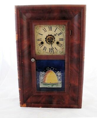 E N Welch 30 hour Ogee clock with alarm for parts or repair,  beehive bees