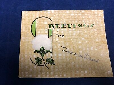 Vintage Black Americana Greetings Cotton Note Card Down in Dixie Plantation 1944