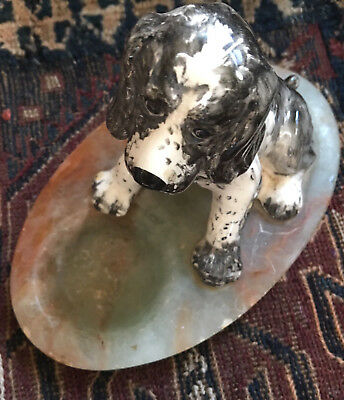 1940s Hand Sculpted English Springer Spaniel Puppy, Ashtray, Onyx & Ceramic,