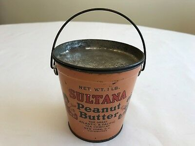 1930's SULTANA PEANUT BUTTER TIN WITH LID AND HANDLE