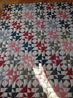 Beautiful Blue Red Pink Vintage Old New Stock Handmade Quilt Hand Quilted Star