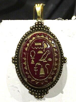 Rare Antique Max Neiger  Egyptian Revival Czech Glass Hieroglyphics Pendant