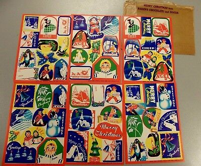 1940 Lot Of 6 Christmas Stickers General Foods Bakers Chocolate And Cocoa