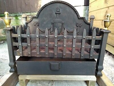 Large Antique Victorian Style Heavy Cast Iron Firegrate Basket Log Holder Crown