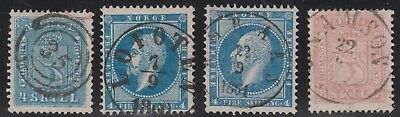 Stamps from Norway, lot 4 skilling stamps witth nice cancels