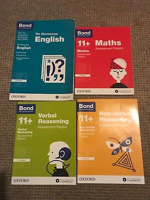 Bond 11+ Assessment Papers Maths Verbal non verbal plus no nonsense Eng 7-8 yr