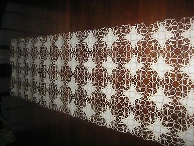 Vintage Handmade Linen and Crochet Lace Table Runner or Dresser Scarf Ercu