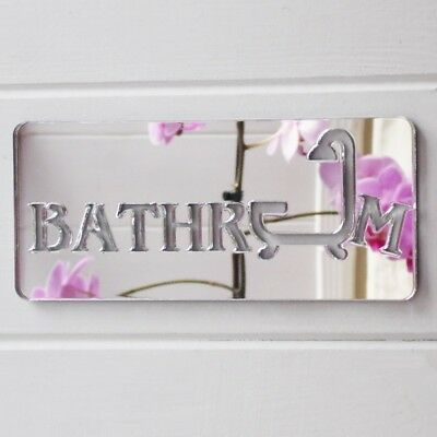 25cm Bathroom & Shower Acrylic Mirrored Door Sign