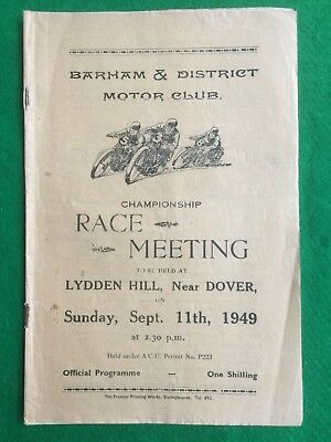 Grass Track racing programme Lydden Hill Dover 11th September 1949