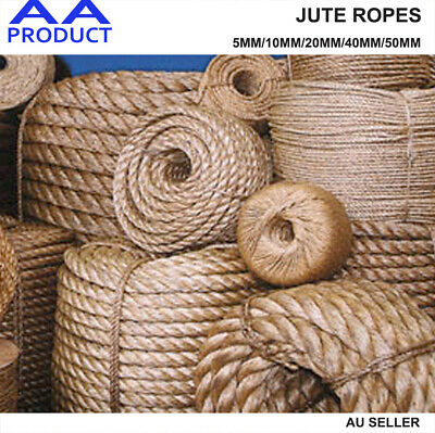 Natural Jute Rope Burlap Hemp Twine Cord Twisted String 5 10 20 40 50mm Craft