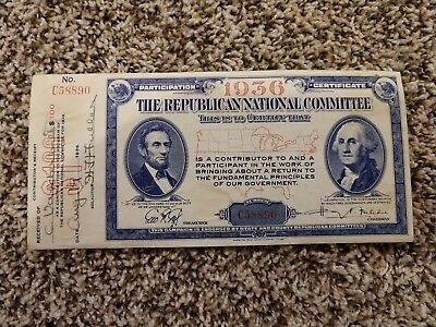 1936 Participation Certificate of the Republican National Committee