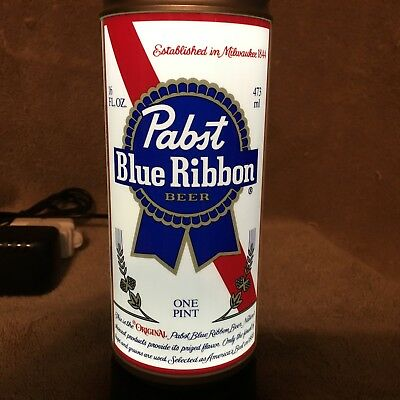 Pabst Blue Ribbon Beer Lighted Beer can Display NOS