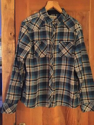 Vintage Mens Flannel Shirt Plaid Check Blue Orange Size Large To XL Retro