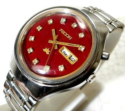 Ricoh Automatic Wind Classic Red Cherry Dial Cz Stone  Mens Watch Case 37Mm Rare