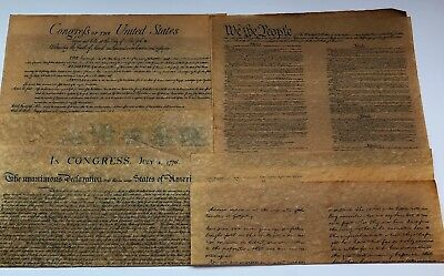 Reproductions of 4 Documents of Freedom on Antiquated Parchment Paper