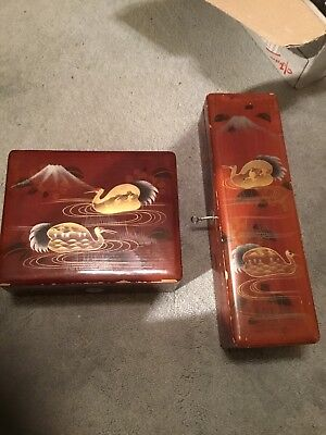 2 Japanese Boxes - Lacquered Wood - Vintage Lacquer Ware Red & Gold Circa 1930
