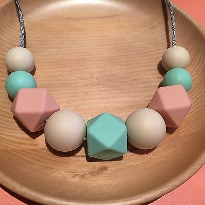Silicone Sensory (was teething) Necklace for Mum Jewellery Beads Mint Aus Gift