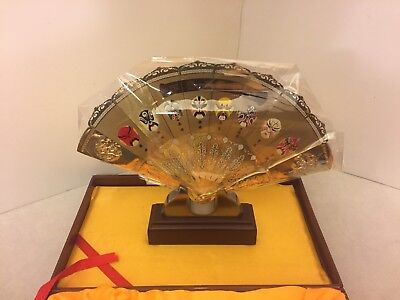 Chinese Style Decorations - Beijing Opera Mask - Golden Metal Fan - Display