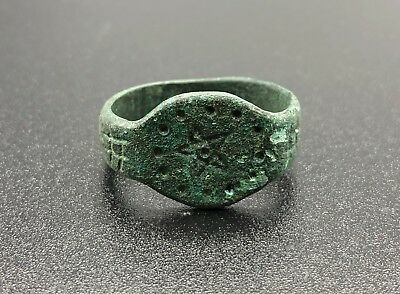 Amazing Medieval Period Bronze Ring With Pentagram Motif - Wearable - Rare