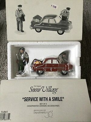Dept 56 Snow Village® SERVICE WITH A SMILE (Set of 2) - BRAND NEW - IN PLASTIC