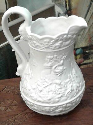 Antique William Ridgway  Molded Relief Jug 1835 Highly Decorated