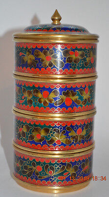 Oriental Cloisonne Stacking Metal Boxes with Cover