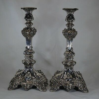 Candlestick Pair 875 Silver Antique Tall European Late 19th Century Heirloom