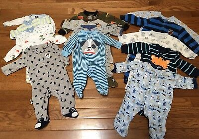 Baby Boy Clothes Newborn 0- 6 Months Lot 14 pieces Pajamas Outfits Carters