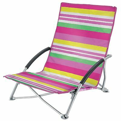 Stupendous Low Folding Chairs Beach Camping Festival Pink Stripes Cjindustries Chair Design For Home Cjindustriesco