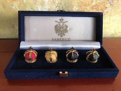 FABERGE IMPERIAL CROWN PLACE CARD HOLDER SET of 4 rare