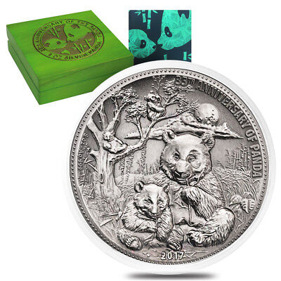 2017 8 oz Silver Panda Fiji $5 Coin Antiqued High Relief In Cap