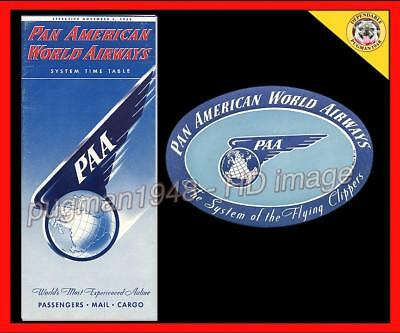 PAN AM AIRWAYS 1953 AIRLINE TIMETABLE SCHEDULE...Plus 4 EXTRAS